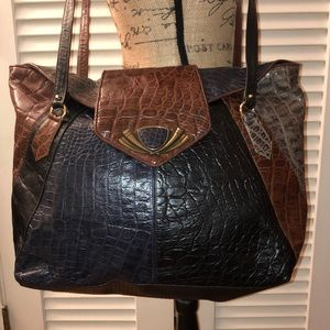 Sharif VTG Large multicolored croc leather tote